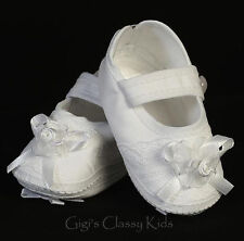 New Baby Girls White Cotton Booties Dress Shoes Christening Baptism Dedication