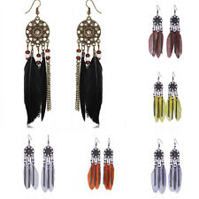 New Fashion Bohemia Handmade Goose Feather Long Hook Eardrop Dangle Earrings