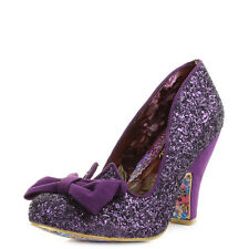 Womens Irregular Choice Nick Of Time Purple Glitter Bow Court Heels Shoe UK Size