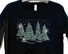 Rhinestone Tshirt Trees Winter Scene LAT Ringspun Cotton Long Sleeve Bling