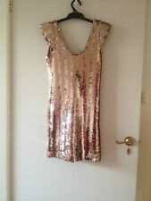 BARIANO STUNNING GATSBY SEQUIN ROSE GOLD DRESS RACES/WEDDING/COCKTAIL*RRP$279.95