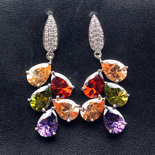 HERMOSA Multi-Precious Stones Earrings Garnet Morganite Amethyst Peridot