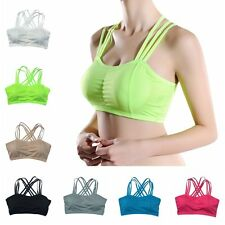 Women's Workout Yoga Gym Sports Seamless Bra Solid Bandage Bra Tank Top Padded