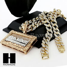 """Men Iced Out Giant Last Supper Pendant w/ 30"""" Iced Out Cuban Link Chain NN038G"""