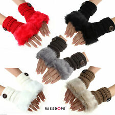NEW Knitted Women Warm Winter Faux Rabbit Fur Wrist Fingerless Mittens Gloves