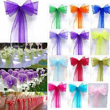 10/50/100PCS Organza Chair Covers Sash Bow Wedding Party Receptions Banquet Dec