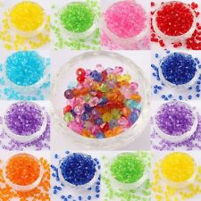 500*Acrylic Plastic Transparent Faceted Bicone Spacer Beads ForJewelryDIY 4/6mm