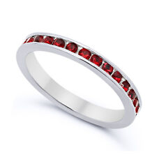 Solid 925 Sterling Silver Simulated Garnet Red CZ 3mm Eternity Band