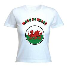 MADE IN WALES WELSH DRAGON LADIES T-SHIRT - Cymru Rugby - Sizes Small to XL