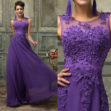 PLUS SIZE Long Lace Bridesmaid Formal Gown Party Cocktail Evening Prom Dress New