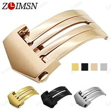 Watch Band Buckle Stainless Steel Silver Rose Gold Black Folded Deployment 20mm