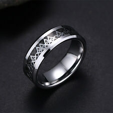 Tungsten Steel Masonic Ring 8mm Men Women's Wedding Party Fashion Band Size 7-13
