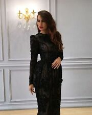 Black Lace Evening Dresses Long Sleeves Bridesmaids' Formal Ball Gowns Round New