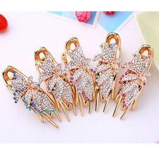 Girls Plated Barrette Hair Clip Elegant Crystal Flower Clamp Hairpin Hair Decor
