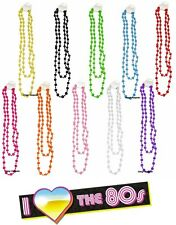 1980's NEON UV BRIGHT LONG BEADS NECKLACE 80's FANCY DRESS PARTY FOR TUTU 50""