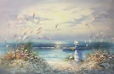 Hand Painted Oil Painting On Canvas Seascape Woman and Son Watching the waves