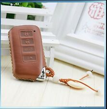 4 BUTTONS HANDMADE FULL GRAIN Leather LEXUS key chain cover case BROWN GS NX RX