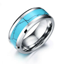 Tungsten Steel Turquoise Band 8mm Men Women's Engagement Wedding Ring Size 7-12
