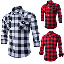 Mens Cotton Casual Shirt Stylish Slim Fit Long Sleeve Casual Dress Shirts Top w1