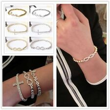 Hot Jewelry Fashion Gold Silver Crystal Rhinestone Infinity Charm Chain Bracelet