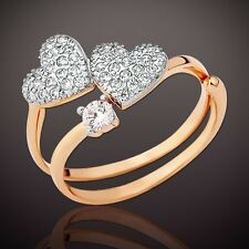 Russian solid rose gold 585 14k CZ double band HEART ring Stylish! Unusual!