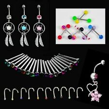 Crystal Catcher Navel Dangle Barbell Nose Tongue Belly Bar Ring Body Piercing WN
