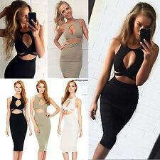 New Women Sexy Sleeveless Cut Out Bandage Bodycon Stretch Club Party Dress WN