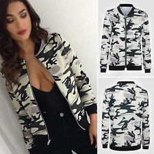 Womens Ladies Camo Zip Celebrity Camo Print Sport Biker Bomber Jacket Coat
