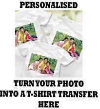 CUSTOM TEXT IRON ON T SHIRT TRANSFER YOUR IMAGE PHOTO LOGO PERSONALISED PRINTS