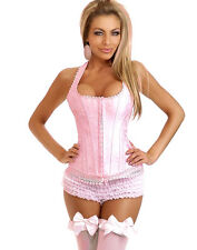 CORSE CORSET BUSTIER ROSE SATIN TOP MODE FOR DRESS UP LINGERIE SEXY (8405)