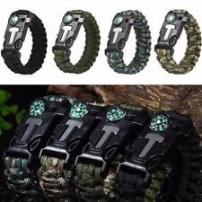 Rope Paracord Survival Bracelet Flint Fire Starter Compass Whistle Outdoor WN