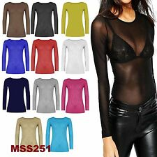 Ladies Sheer Mesh LongSleeve Lace Women Sexy See Through Fitted Top Dress Shirt