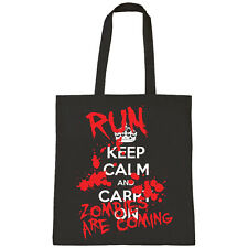 KEEP CALM AND CARRY ON RUN ZOMBIES TRICK OR TREAT HALLOWEEN SHOPPER TOTE BAG
