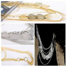 Bohemian Vintage Leaves Multi-layer Long Necklace Pendant Chain Hollow out Leaf
