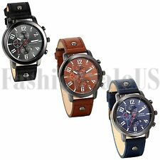Men's Casual Analog Dial Quartz movement Army Infantry Leather Band Sports Watch