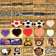 SMALL FAUX FUR SHEEP SKIN ANIMAL PRINT WILDLIFE KIDS FOOTBALL HEART RUG MAT 70cm