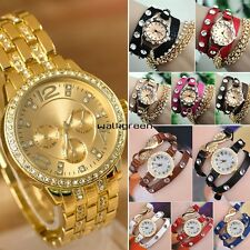 Rose Gold Rhinestone Synthetic Leather Sling Chain Quartz Watches Wrist Watch WN