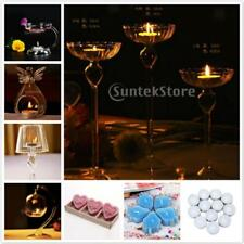 Clear Glass Candle Stand Candlestick Holder Container + Candles for Table Decor