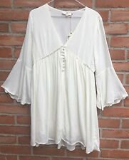 NWT Entro Anthropologie Cream Tie-back Bell Sleeve Button Front Dress SZ M or L