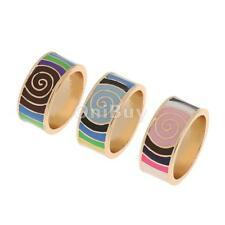 Unique Ethnic Bright Color Whirl Geometric Enamel Finger Ring Band Jewelry