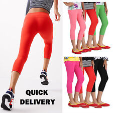 Womens Cropped Summer Cotton Leggings 3/4 Length All Sizes 4-16 -3/4ctnlg