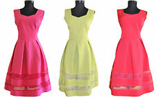 Womens New Pink/Green/Red Skater Cocktail Party Evening Midi Dress sz 12 14 AX18