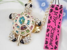 Betsey Johnson fashion jewelry Multi-Color Crystal turtle pendant necklace #A444