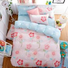 Twin & Queen Size Pink Blue Flower Reversible Design Duvet Cover Bed Set