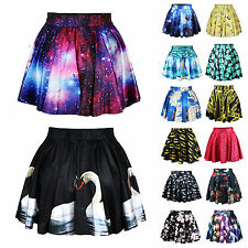 Womens Galaxy High Waist Pleated Mini Skirt Party Casual Flared Skater Dresses