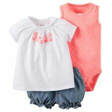 Carters Cotton Embroidered Top Bodysuit Bubble Shorts 3pc Set Baby Girl 6 Months