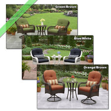 - 3 Pc Outdoor Wicker Bistro Set Swivel Chairs Patio Sets - Orange, Green, White