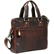 Jack Georges Voyager Slim Double Entry Top Zip Leather Laptop Briefcase