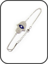 Womens Sterling Silver Fashion Jewelry Hamsa Hand Lucky Eye Chain Bracelet