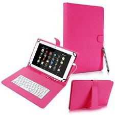 """For Android 8"""" Tablet Universal Kickstand PU Leather USB Keyboard Box Case Pink"""
